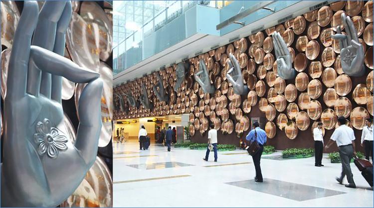 Aéroport de Delhi : 9 mains géantes montrent les principaux mudras